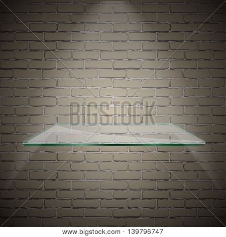 Empty advertising glass shelf withh a spot lignt white brick background