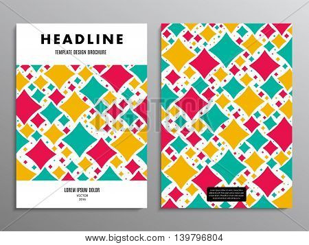 business brochure template or layout design flyer in A4 size with abstract squares on background. stock vector illustration eps10