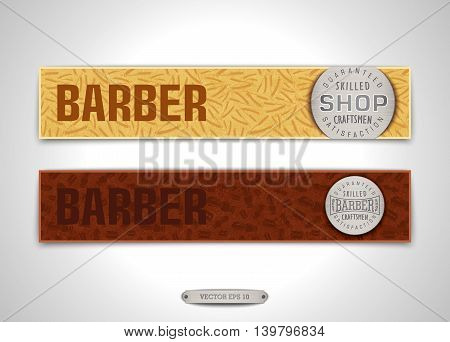 Two vintage banners for Barbershop with metal emblem and print from shaving brush and razor. Vector illustration