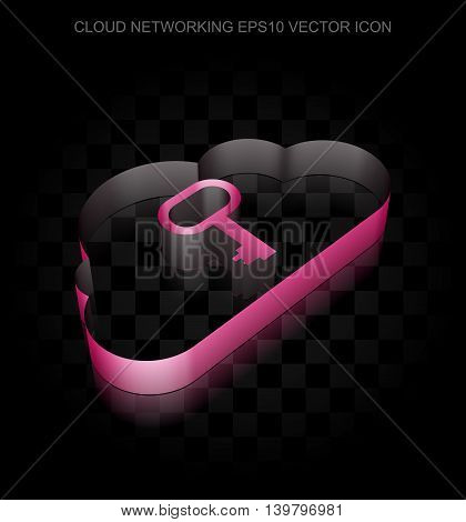 Cloud computing icon: Crimson 3d Cloud With Key made of paper tape on black background, transparent shadow, EPS 10 vector illustration.