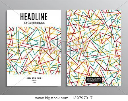business brochure template or layout design flyer in A4 size with triangles on background. stock vector illustration eps10