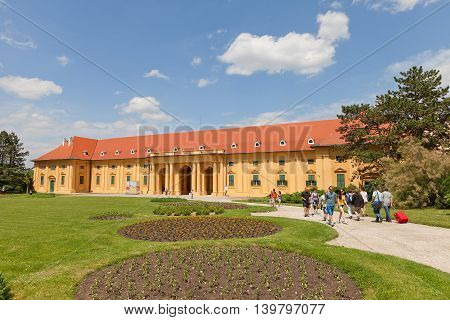 LEDNICE CZECH REPUBLIC - MAY 29 2016: Riding Hall (stables) of Lednice Palace (17th c.) in Czech Republic. UNESCO World Heritage Site