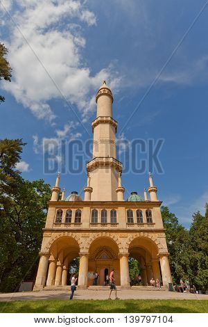 LEDNICE CZECH REPUBLIC - MAY 29 2016: Moorish Revival style Minaret observation tower (circa 1804) in Lednice Palace garden in Czech Republic. UNESCO World Heritage Site