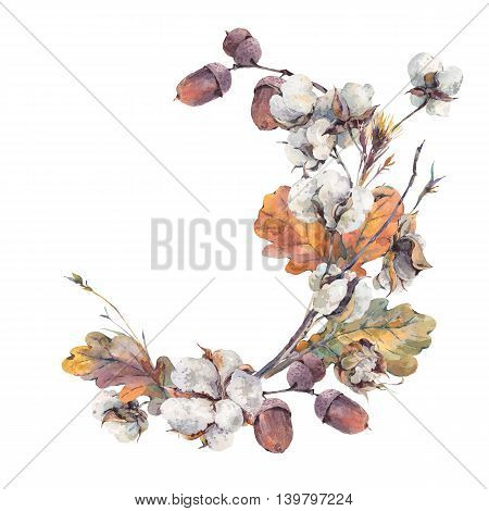 Watercolor autumn vintage wreath  of twigs, cotton flower, yellow oak leaves and acorns. Botanical watercolor illustrations. Greeting card. Isolated on white background