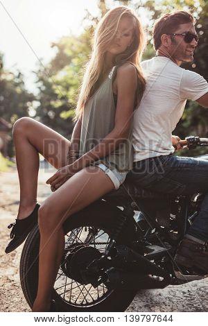 Couple Outdoors On Motorbike