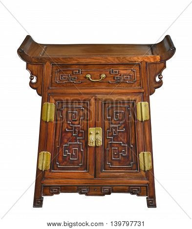 old vintage antique chest cupboard with drawer wooden from China isolated on white.