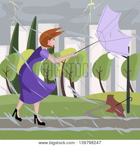 woman walking at summer storm - colorful cartoon illustration