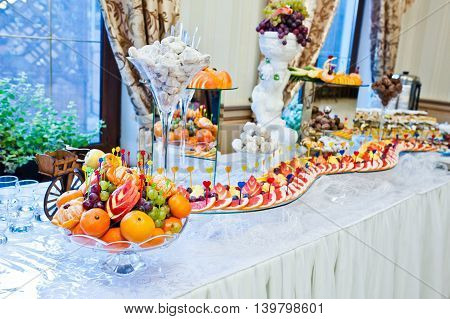 Wedding Reception Of Fruits, Decorated Grapefruit Apple And Grape