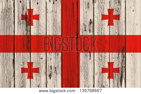 Flag of Georgia painted on wooden frame