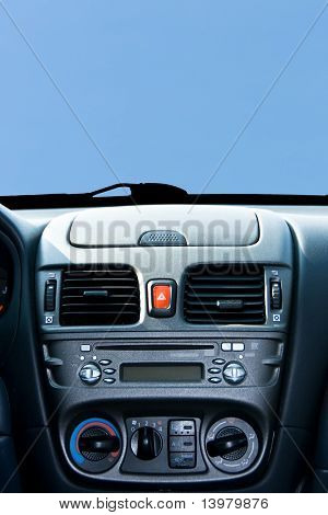 New cars console on the blue sky background