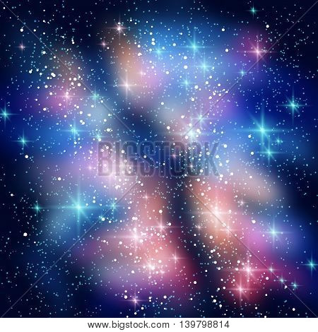 Milky Way Galaxy in Black Night Sky. Vector illustration. Blue and Pink Space Clouds with Shining Stars.