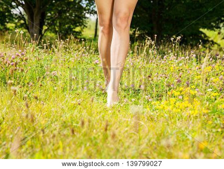 young girl walking barefoot on the grass on sunny summer day. legs closeup