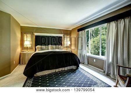 Brown Elegant Bedroom Interior With Black Bed And Cheetah Pillows