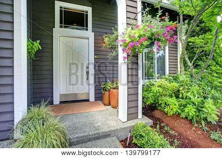 Entrance Porch With Blooming Flowers