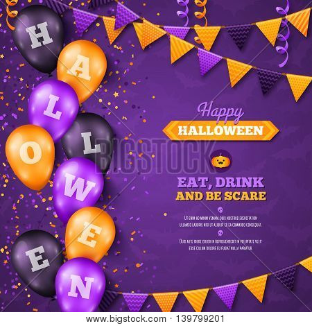 Halloween Background with Balloons and Flag Garlands Decorations. Vector Illustration. Party Invitation Concept in Traditional Colors. Place for your Text. Holiday Menu Design. Trick or Treat.