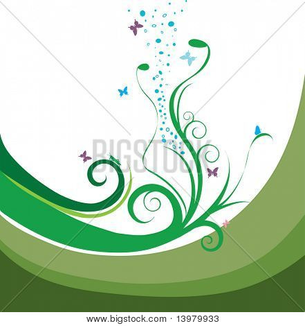 Spring floral vector ornament with leaves and butterflies