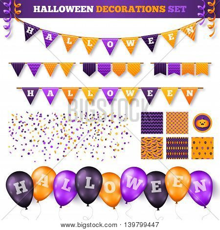 Halloween 3D Decorations Set Isolated on White. Vector Illustration. Flag Garland with Holiday Greetings. Balloons in Traditional Colors, Confetti and Serpentine, Seamless Patterns for Decor.