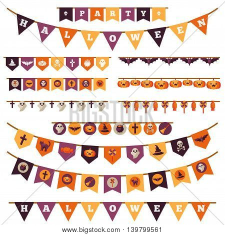 Halloween Decorations Set in Flat Style Isolated on White. Vector Illustration. Flag Garland with Holiday Cute Characters.