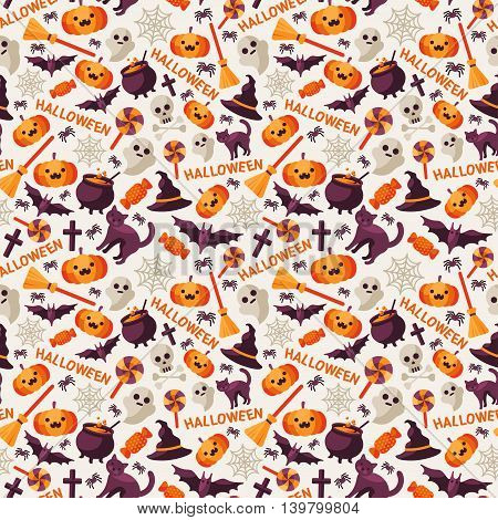Halloween Seamless Pattern with Orange Pumpkin, Spider Web, Witch Hat, Broom and Cauldron, Skull and Crossbones. Vector Illustration. Flat Icons with Text on Bright Background