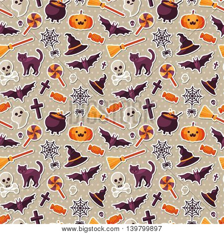 Halloween Seamless Pattern with Orange Pumpkin, Spider Web, Witch Hat and Cauldron, Skull and Crossbones. Vector Illustration. Flat Sticker Icons on Polka Dots Background.