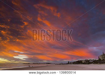 Colourful cloudscape sunrise over Currumbin Beach Gold Coast