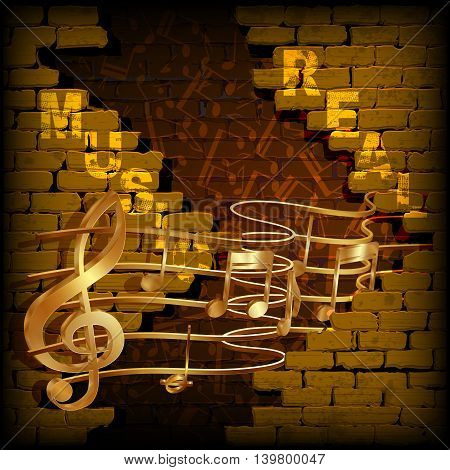 Golden musical notes coming out of the gap in an old brick wall with the inscription real music. You can use any text or image on a black background.