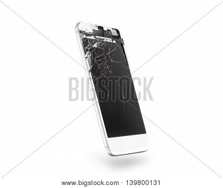 Broken white mobile phone screen, side view, isolated, clipping path. Smartphone display damage mockup. Cellphone crash and scratch, glass hit. Device destroy problem. Smashed gadget bad accident.