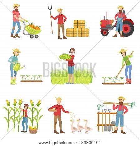 People Working On The Farm Set Of Simple Childish Flat Colorful Illustrations On White Background
