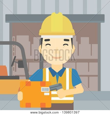 An asian warehouse worker scanning barcode on box. Warehouse worker checking barcode of box with a scanner. Man in hard hat with scanner. Vector flat design illustration. Square layout.