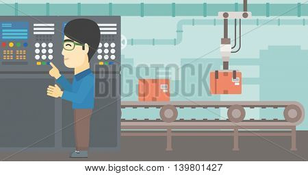 An asian man working on control panel. Man pressing button at control panel in plant. Engineer standing in front of the control panel. Vector flat design illustration. Horizontal layout.