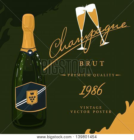 Bottle of champagne with crown on sticker and two glasses with sparkling wine, beverage with bubbles vintage or old, retro poster. French or soviet, russian alcohol or booze.