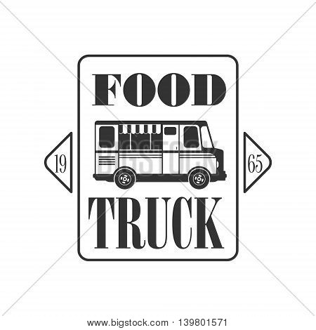 Food Truck Square Logo Graphic Design. Black And White Emblem Vector Print