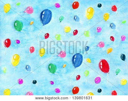 Background with colorful balloons flying in sky