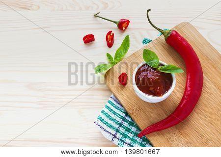 Tomato Ketchup Sauce Salsa, Hot Chili And Basil