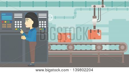 An asian woman working on control panel. Woman pressing button at control panel in plant. Engineer standing in front of the control panel. Vector flat design illustration. Horizontal layout.