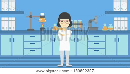An asian young female laboratory assistant standing on the background of laboratory vector flat design illustration. Horizontal layout.