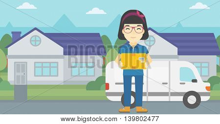 An asian delivery woman with a cardboard box standing on background of delivery truck. Woman with a cardboard box in her hands. Vector flat design illustration. Horizontal layout.