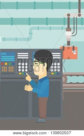 An asian man working on control panel. Man pressing button at control panel in plant. Engineer standing in front of the control panel. Vector flat design illustration. Vertical layout.