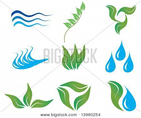 Ecology and botanic icons for design use