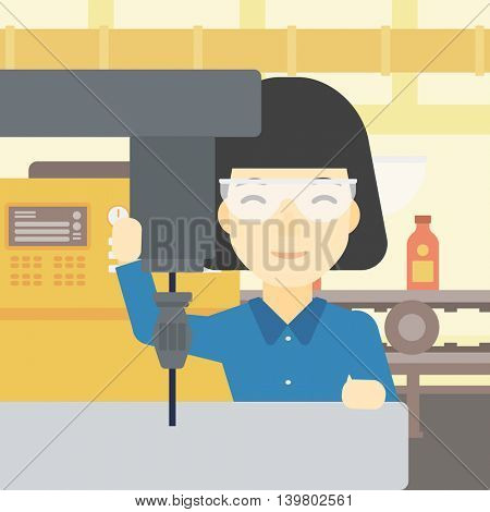 An asian woman working on milling machine at workshop. Woman using milling machine at factory. Woman making a hole using a milling machine. Vector flat design illustration. Square layout.