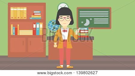 An asian young teacher standing in classroom. Teacher standing in front of the blackboard. Teacher with a piece of chalk in her hand. Vector flat design illustration. Horizontal layout.