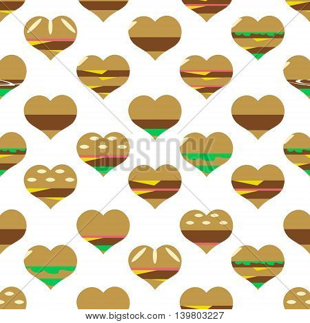 Colorful Hearts Hamburgers Styles Simple Icons Seamless Pattern Eps10