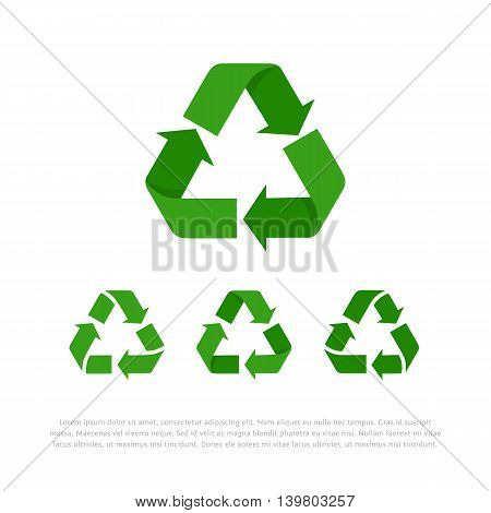 Set of four green flat isolated on white vector recycle symbols, icons with space for text. Elements for ecological design