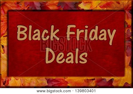 Black Friday Shopping Deals Autumn Leaves Frame with plush red background with text Black Friday Deals, 3D Illustration