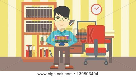 An asian young student holding pile of books. Man with pile of books in hands at home. Smiling student with stack of books. Vector flat design illustration. Horizontal layout.