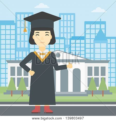 An asian happy graduate in cloak and graduation cap. A female graduate giving thumb up. Graduate celebrating on a background of educational building. Vector flat design illustration. Square layout.