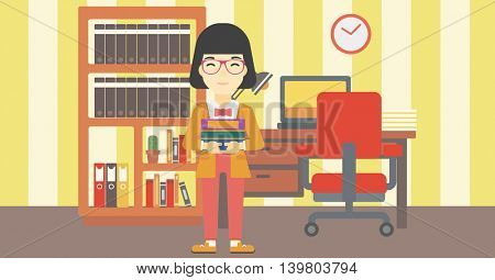 An asian young female student holding pile of books. Woman with pile of books in hands at home. Smiling student with stack of books. Vector flat design illustration. Horizontal layout.
