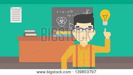 An asian young student pointing finger up at the light bulb. Young man with light bulb on a background of classroom. Vector flat design illustration. Horizontal layout.
