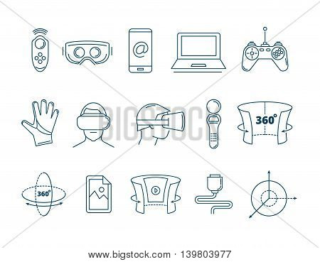 set of linear icons virtual reality accessories. 360 degree view. Rotation arrows. Gloves and helmet,