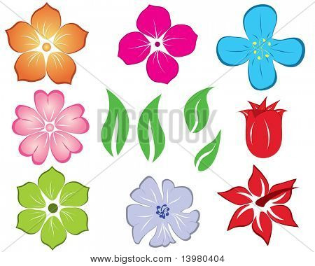 Set of different flower and leaves for self-supporting making floral ornate.